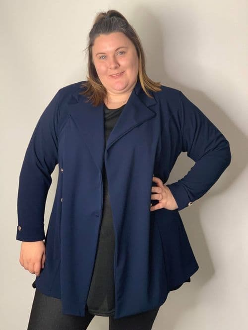 Navy Longline Double Breasted Blazer