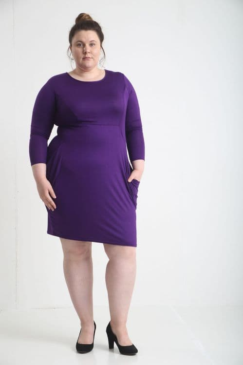 Purple Pocket Slouch Midi Dress