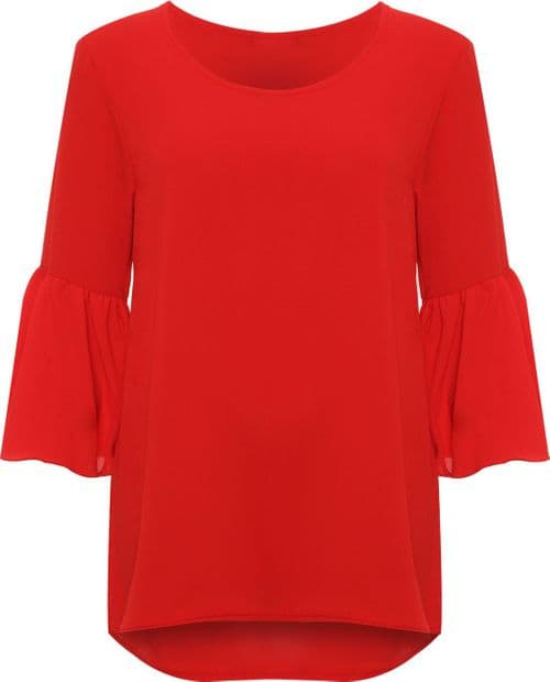 Red Bell Sleeve Crepe Top