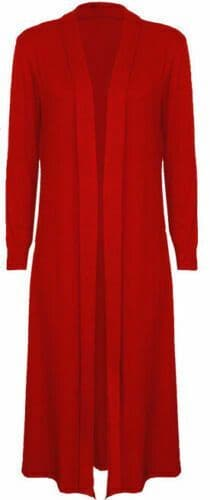 Red Jersey Maxi Cardigan