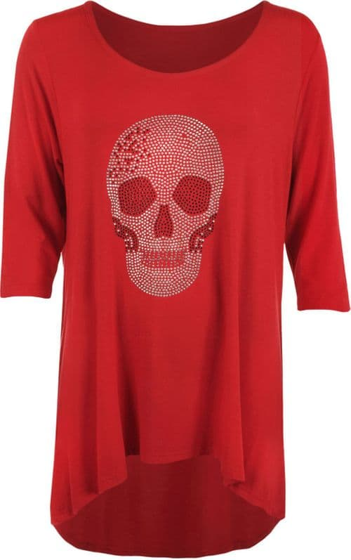 Red Skull Embellished Scoop Tunic