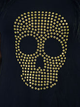 Load image into Gallery viewer, Studded Skull Embellished Black Dipped Hem Top