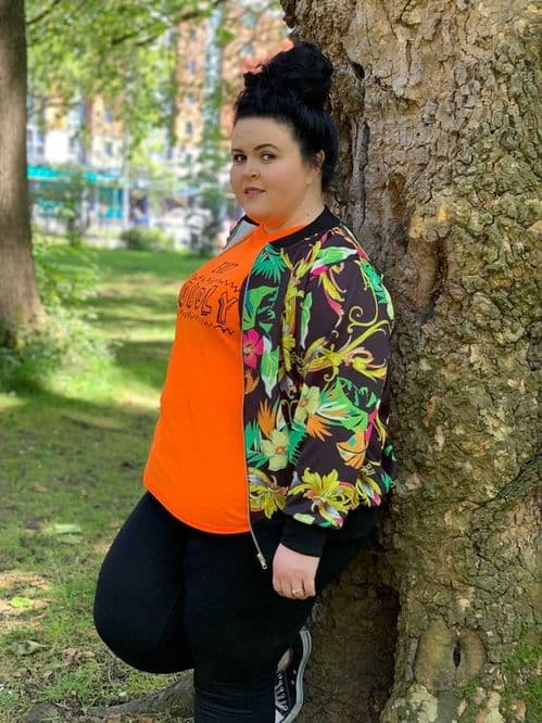 Tropical Chain Print Bomber Jacket