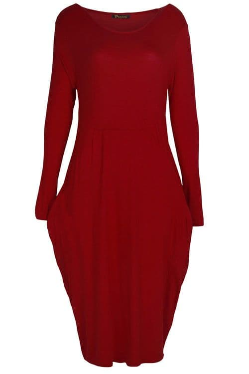 Wine Pocket Slouch Midi Dress