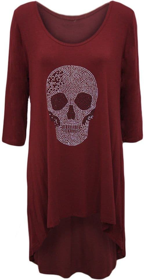 Wine Skull Embellished Scoop Tunic