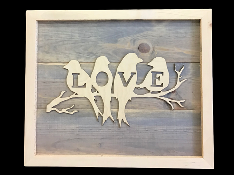 Lovebirds - Rustic Wooden Sign