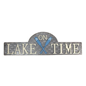 """On Lake Time"" - Horizontal Metal Sign"