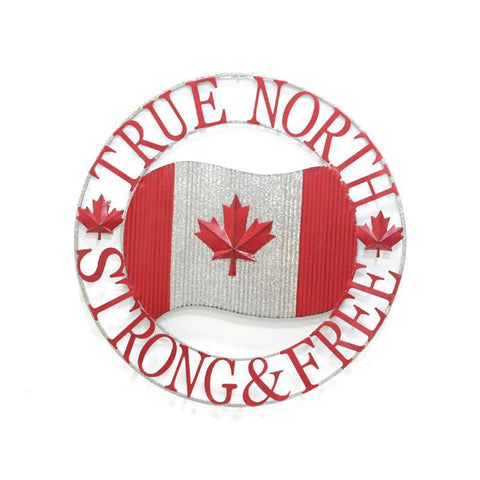 True North Strong & Free Metal Sign