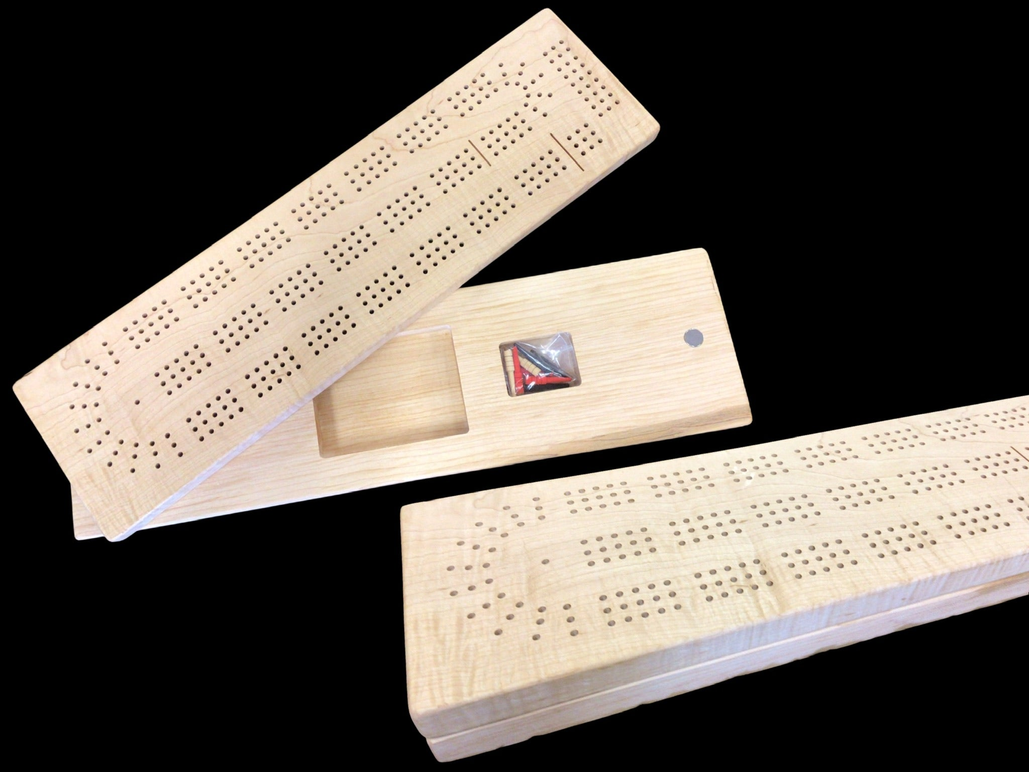 Solid Maple Cribbage Board with storage