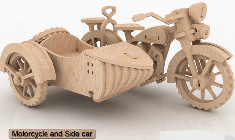 3D Puzzle, Vehicle Collection - Motorcycle and sidecar