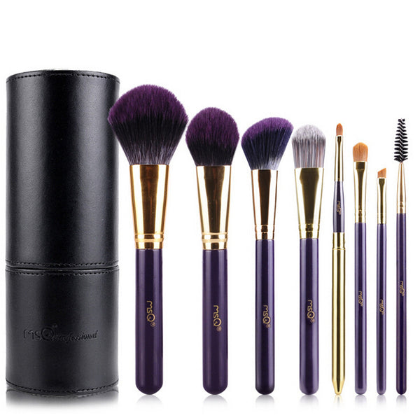 MSQ Bamboo Handle Makeup Brushes & Bag 8pcs