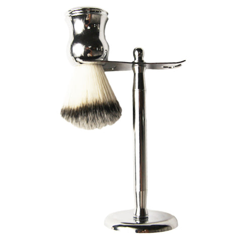 Mens Black Badger Hair Shaving Brush and Stainless Steel Stand