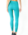 Mesh Seamless Legging with Ribbing Detail - Aqua
