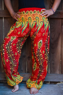 Orange Peacock Boho Pants