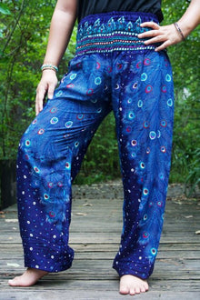 Blue PEACOCK Women Boho Pants Hippie Pants Yoga Pants