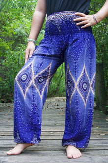 Blue PEACOCK Eye Women Boho Pants