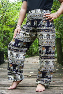 Black & Gold Elephant Boho Pants