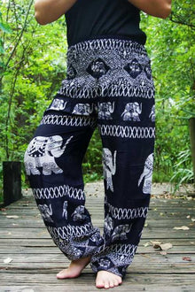 Black Elephant Boho Pants