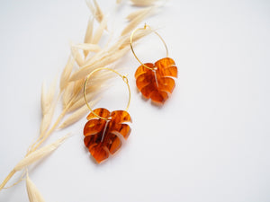 Open image in slideshow, Tortoise Shell Monstera Hoop Earrings