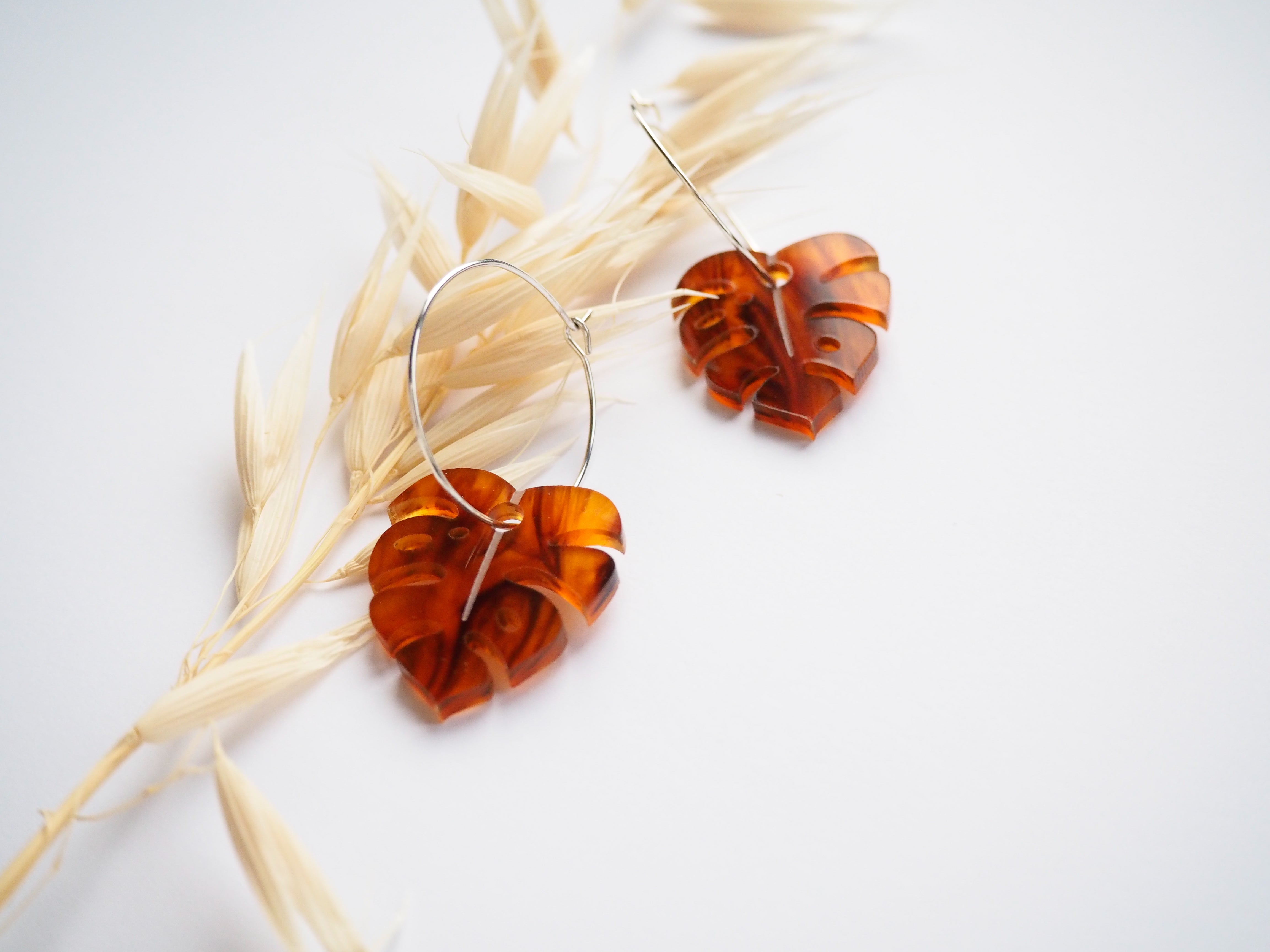 Tortoise Shell Monstera Hoop Earrings