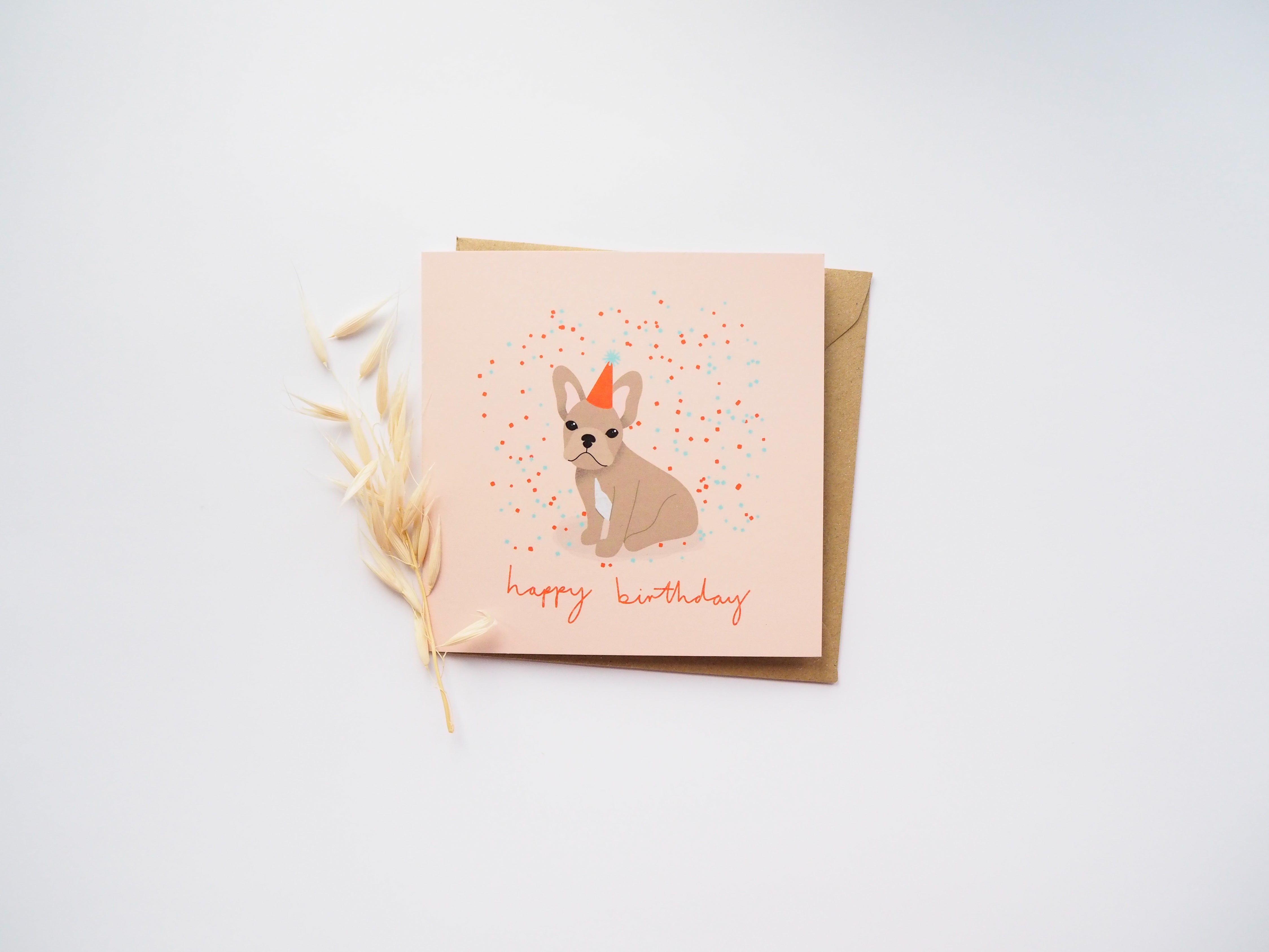 Frenchie Birthday Card Tan