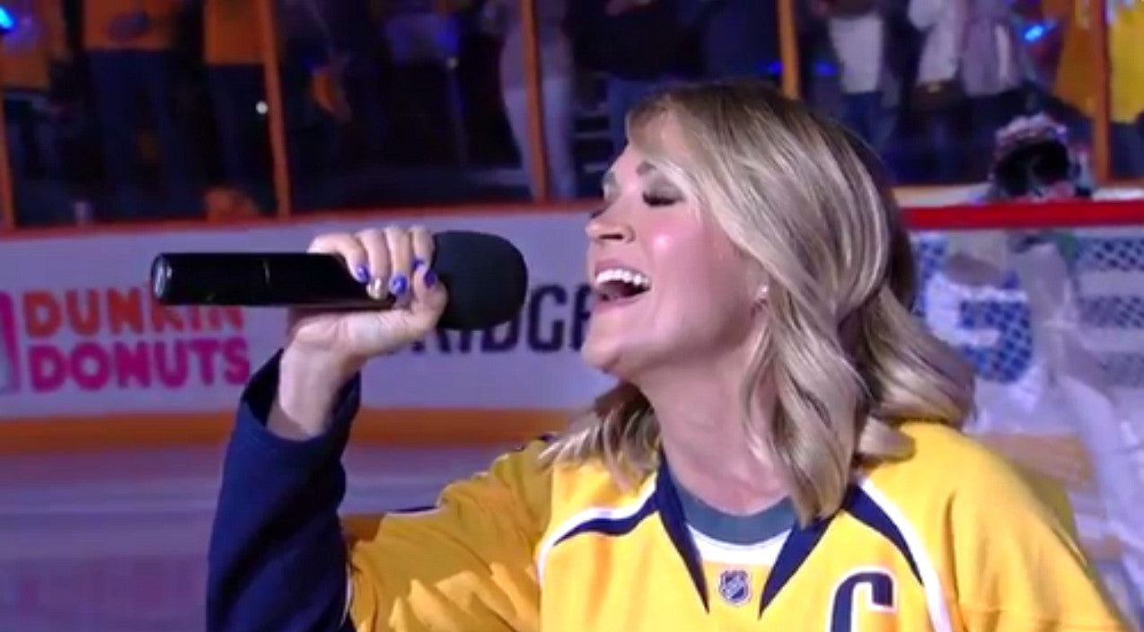 Carrie underwood Songs   Carrie Underwood Shocks Hockey Fans With Surprise National Anthem Performance   Country Music Videos
