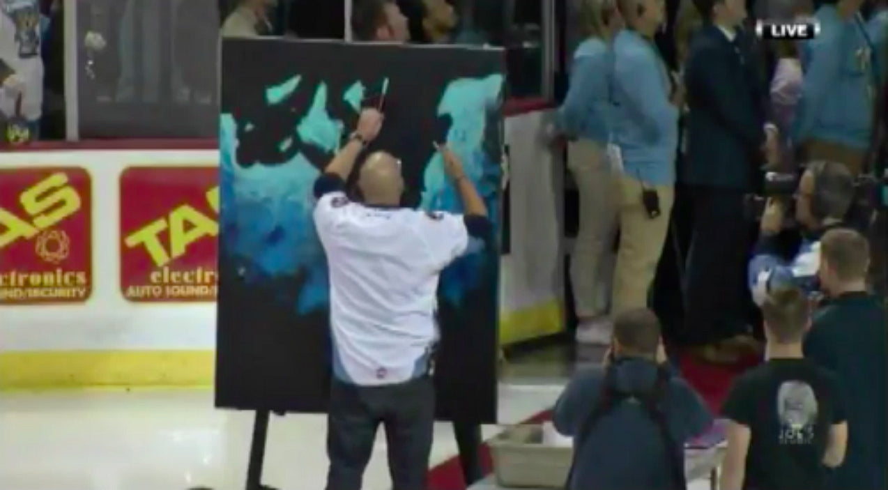 Man Paints While Singing National Anthem, Crowd Erupts When He Flips Canvas Over | Country Music Videos