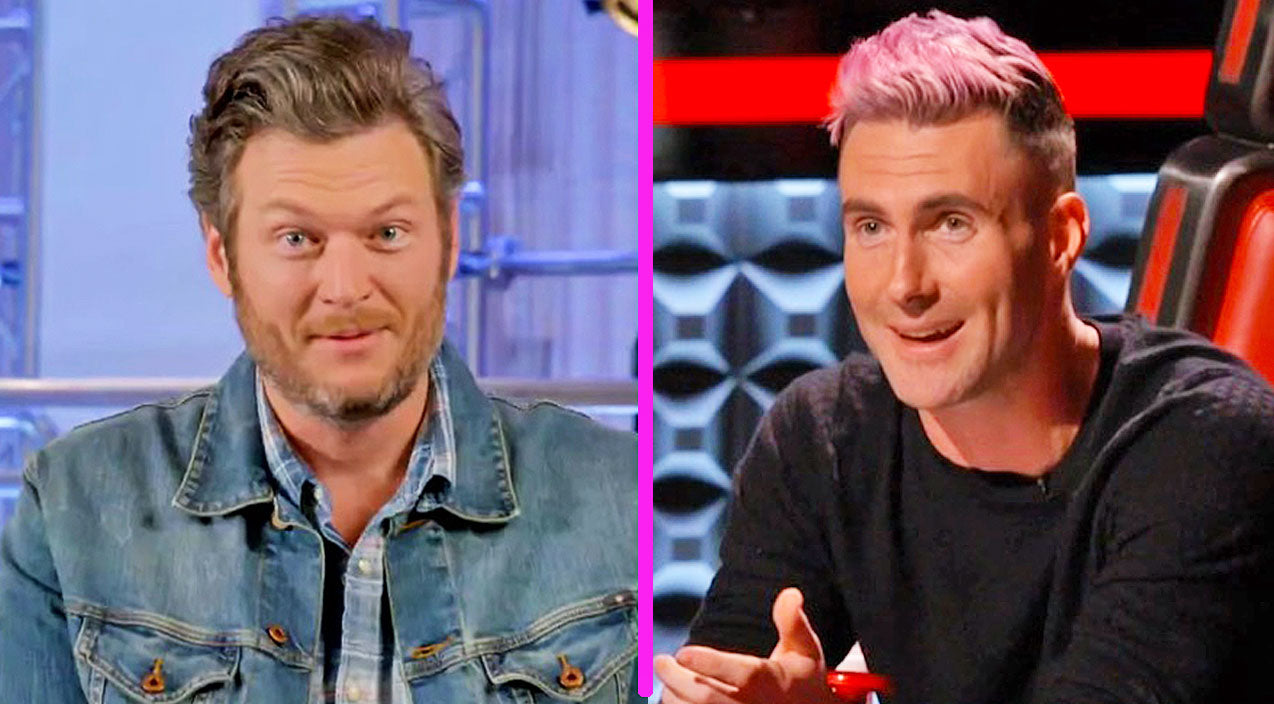 The voice Songs | Blake Shelton Says Adam Levine's Pink Hair Reminds Him Of WHAT?! | Country Music Videos