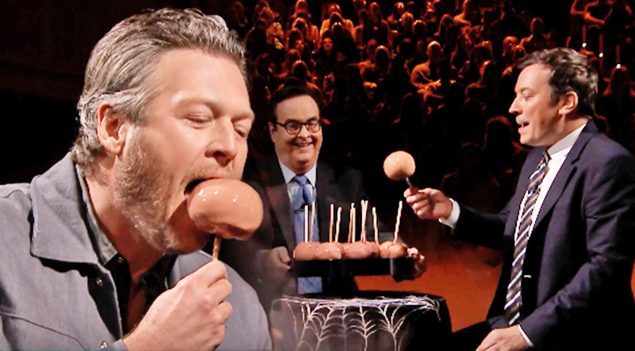 Jimmy fallon Songs | Blake Shelton Takes Bite Out Of Something Nasty During 'Caramel Apple Roulette' With Jimmy Fallon | Country Music Videos