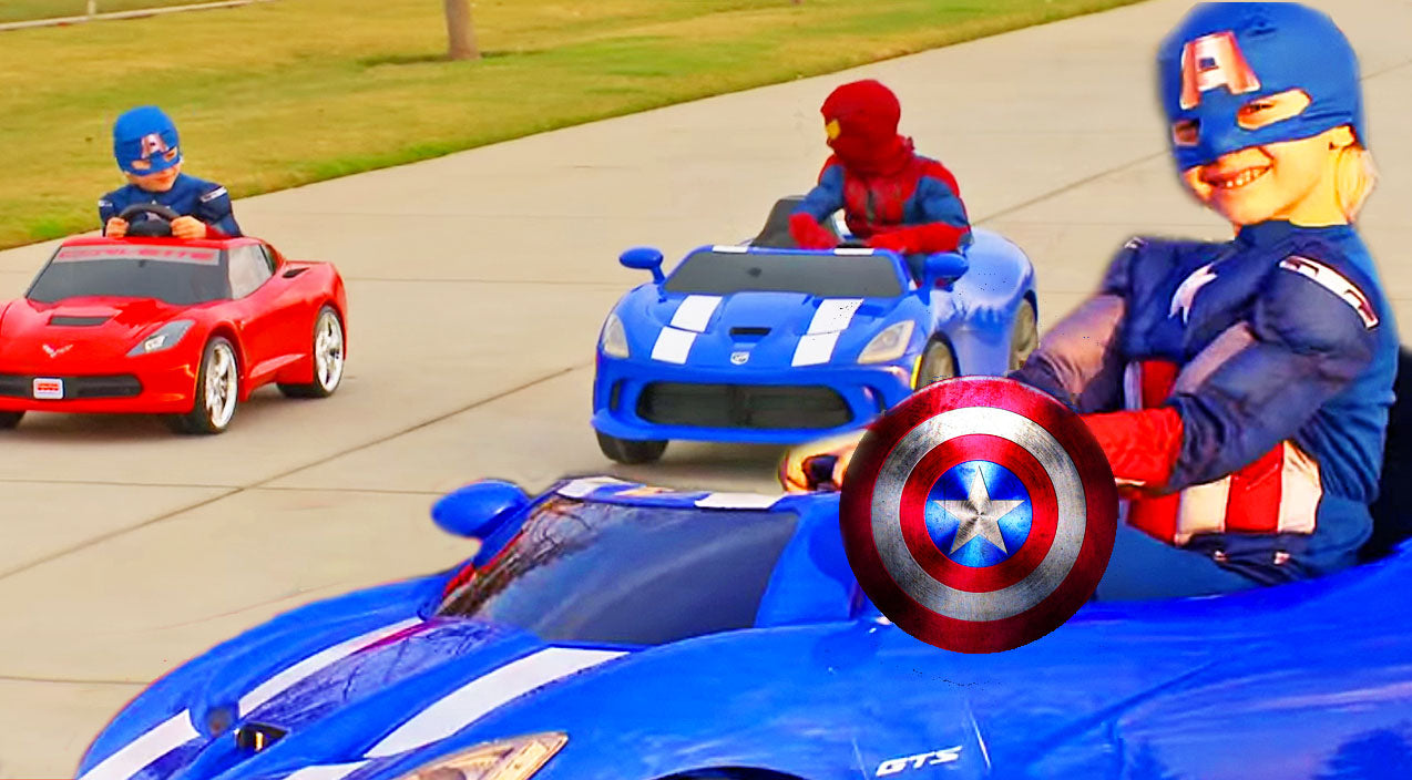 Cute kids Songs | Adorable Captain America Beats Spiderman In Cute, Power Wheels Race! (Must-See!) | Country Music Videos