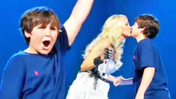 Carrie underwood Songs | Carrie Underwood Brings Young Fan Onstage For First Kiss | Country Music Videos