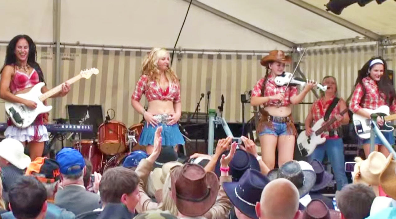 Young Fiddling Cowgirl Steals The Show During