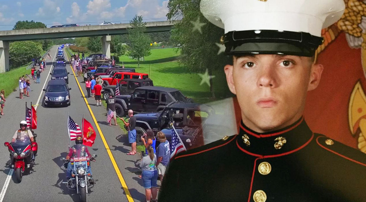 Military Songs | Funeral Procession Drone Footage of Marine Killed In Chattanooga Will Move You To Tears | Country Music Videos