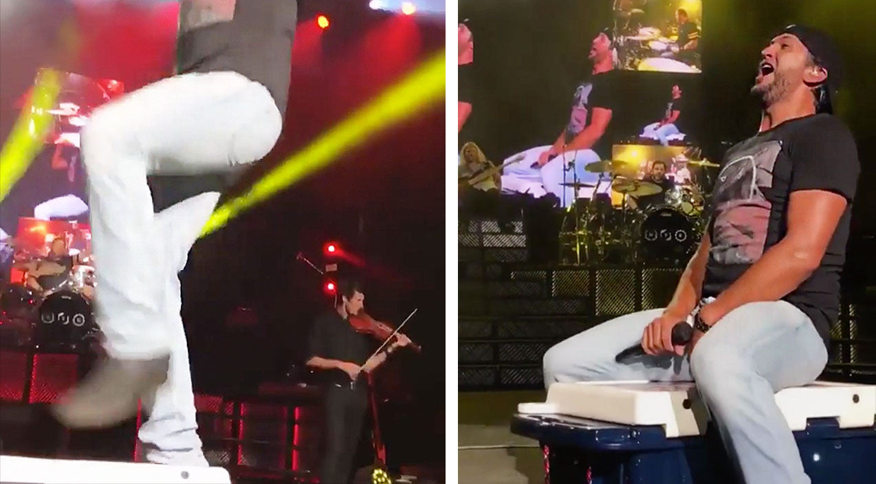 Modern country Songs | Luke Bryan Dodges Nasty Slip On Stage Prop | Country Music Videos