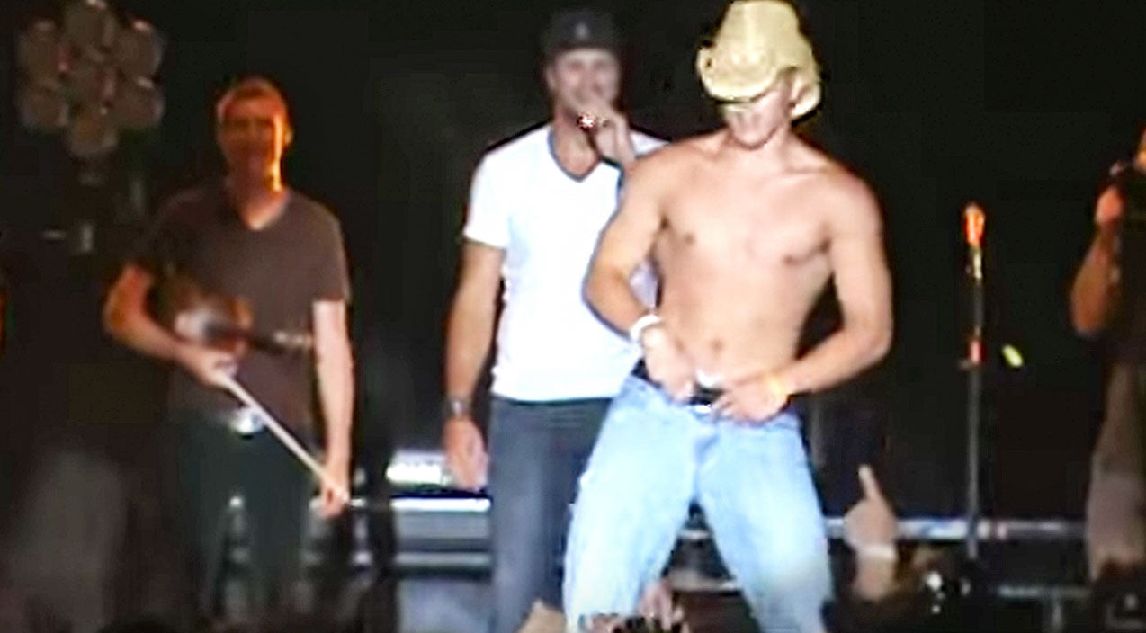 Luke Bryan Shows Up Shirtless Fan During Sexy Concert Dance Off | Country Music Videos
