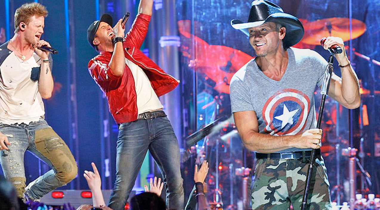 Tim mcgraw Songs | Luke Bryan And Florida Georgia Line Give Energetic Performance of A Tim McGraw Classic! | Country Music Videos