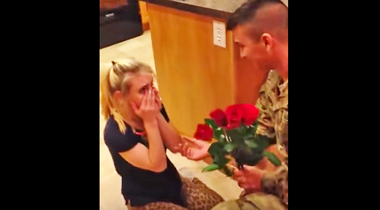 Woman Bursts Into Tears When Her Soldier Boyfriend Surprises Her With Roses | Country Music Videos