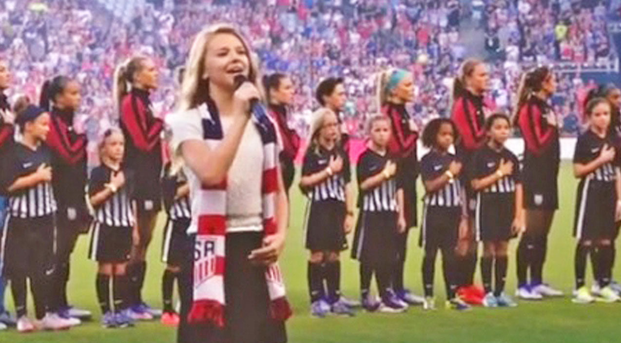 Tegan marie Songs | 12-Year-Old Tegan Marie Thrills Thousands With Firecracker Performance Of The National Anthem | Country Music Videos