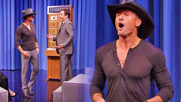 Tim mcgraw Songs | Charades with Tim McGraw, Bradley Cooper, and Emma Thompson (Jimmy Fallon Show) (WATCH) | Country Music Videos