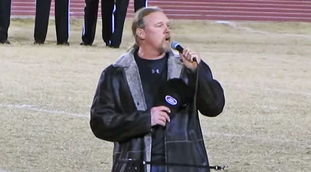 Trace adkins Songs | Small Town Meets Big Star When Trace Adkins Sings National Anthem At High School Football Playoffs | Country Music Videos