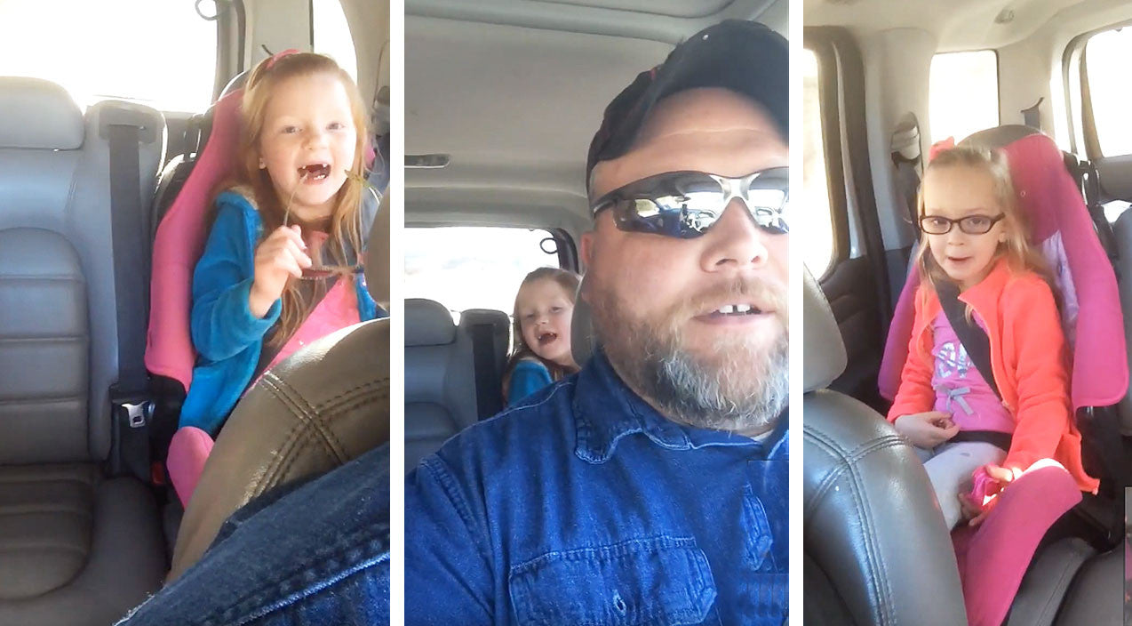 Dad And Two Daughters Pull Off Carpool Karaoke With Waylon Jennings Hit | Country Music Videos