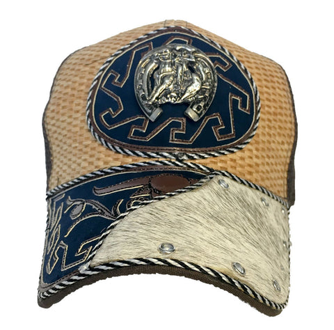 Brown and Tan Trucker Hat with Rodeo Cowboy Pendant and Genuine Cowhide