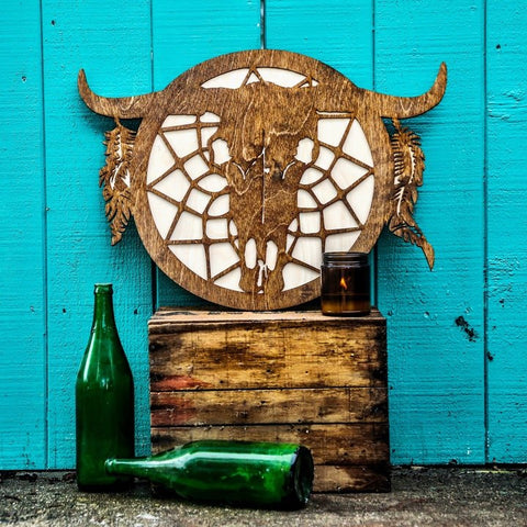 Bull Skull Dreamcatcher Two-Tone Wood Wall Art