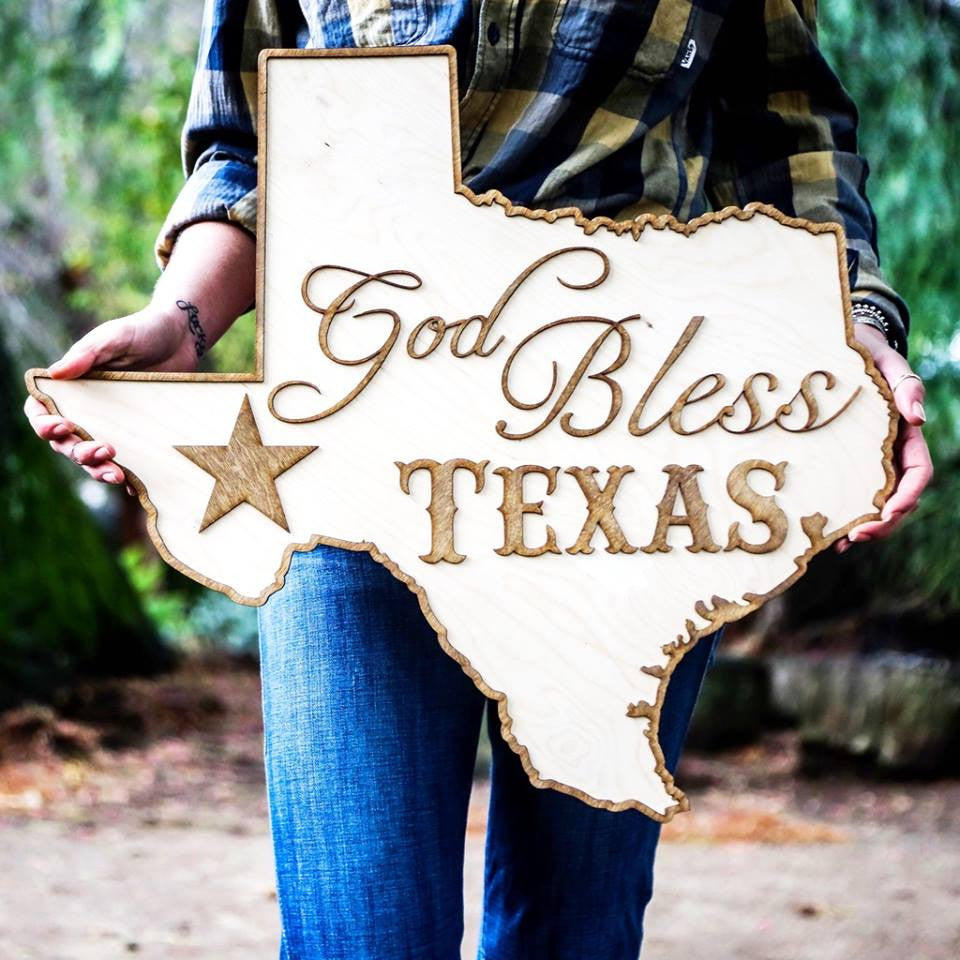God Bless Texas Two Tone Wood Wall Art Country Rebel