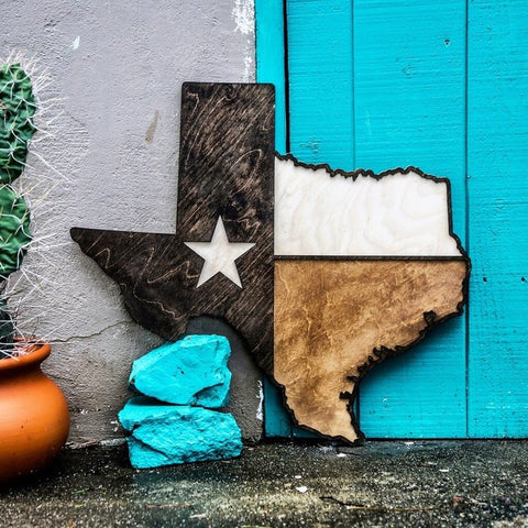 Texas Lone Star Flag Tri-Tone Wood Wall Art