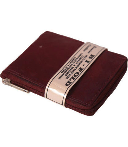 Chestnut Leather Bi-Fold Zipper Wallet