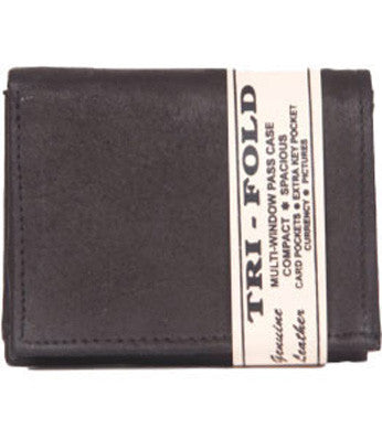 Black Leather Tri-Fold Wallet