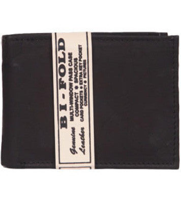 Black Leather Bi-Fold Wallet