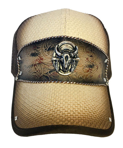 Brown and Tan Trucker Hat with Bull Head Pendant