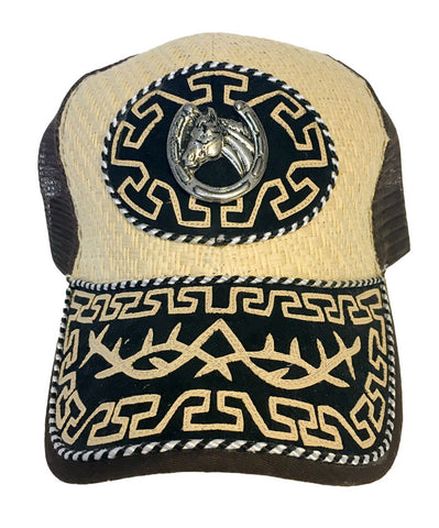 Brown and Tan Trucker Hat with Horseshoe Pendant and Western Design